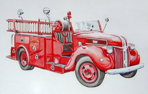 firetruck clipart old