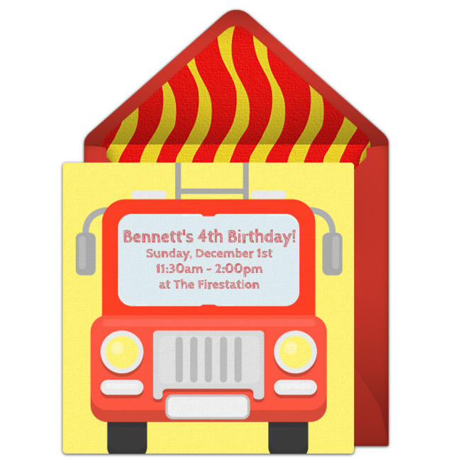 Free online invitation punchbowl. Firetruck clipart simple