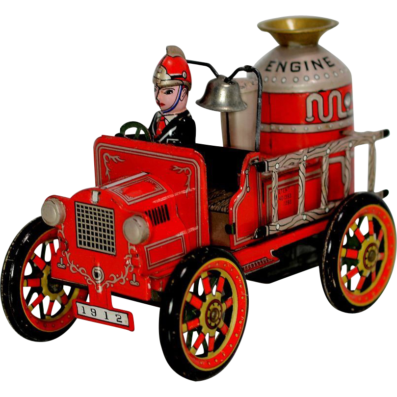 Firetruck clipart toy. Modern toys tin friction