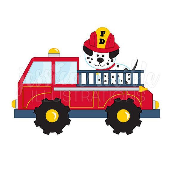 Fire truck with dalmatian. Firetruck clipart vector