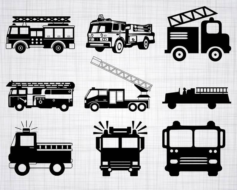 Firetruck clipart vector. Fire truck svg bundle