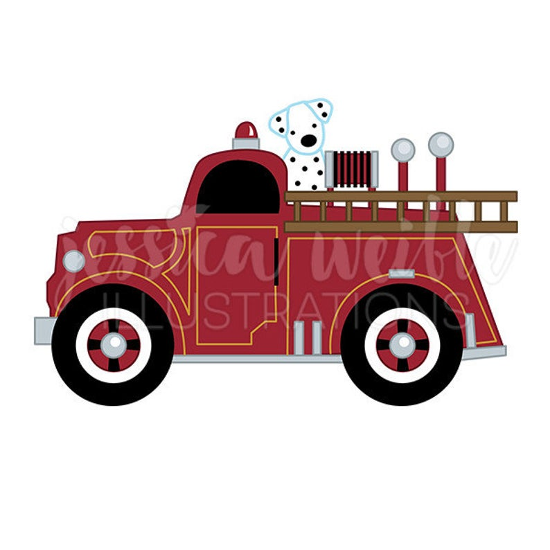 Fire truck with dalmatian. Firetruck clipart vintage