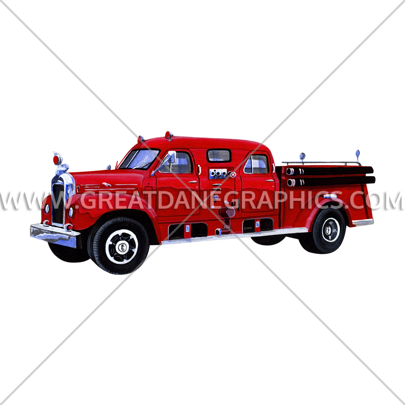 Fire truck large production. Firetruck clipart vintage