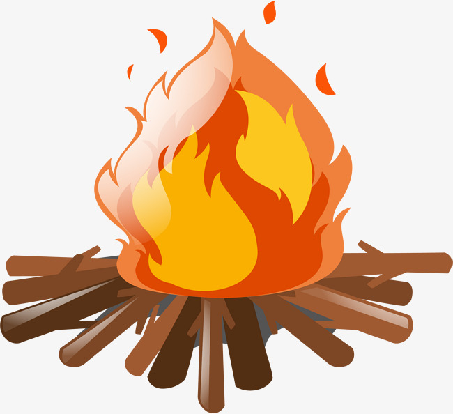 Camp fire cartoon zuanmuquhuo. Firewood clipart