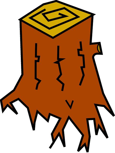 Cut wood clipground stump. Firewood clipart cartoon