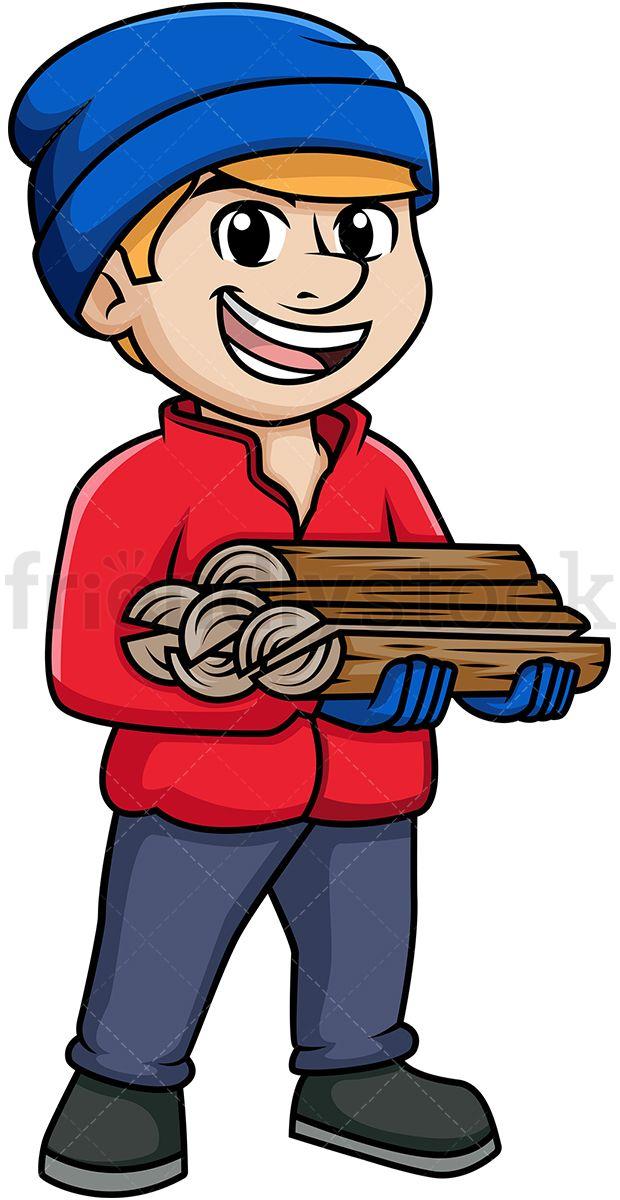 Man carrying zanimanja in. Firewood clipart cartoon
