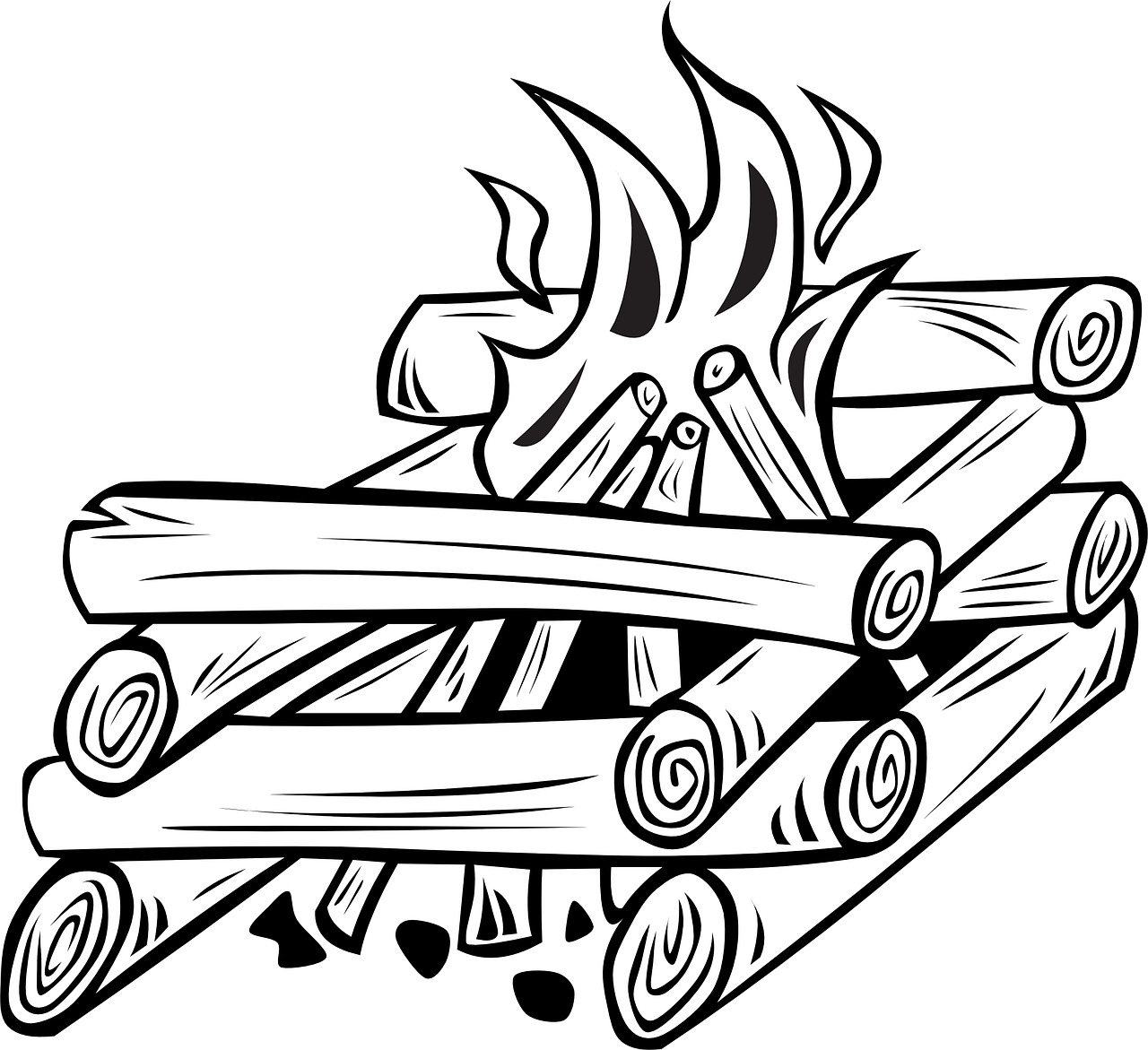 Campfire wood log free. Firewood clipart cooking