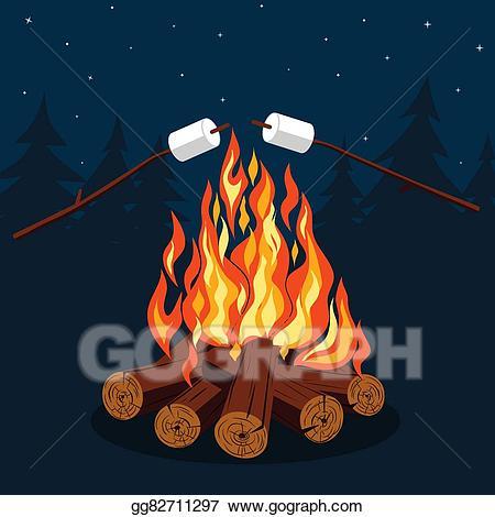 Clip art vector bonfire. Firewood clipart marshmallow
