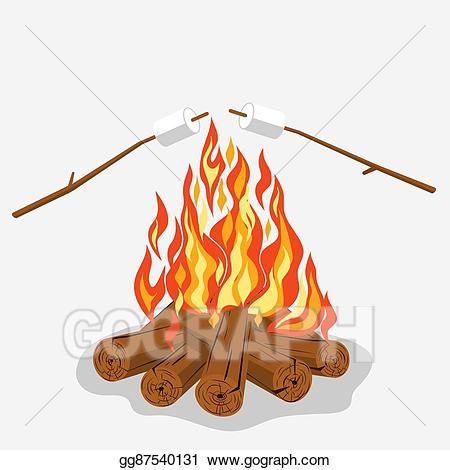 Firewood clipart marshmallow. Vector stock bonfire with