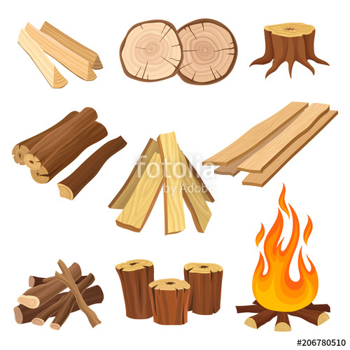 Flat vector set of. Firewood clipart wood beam
