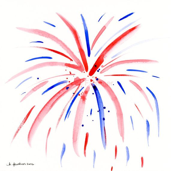 Original red white blue. Firework clipart watercolor