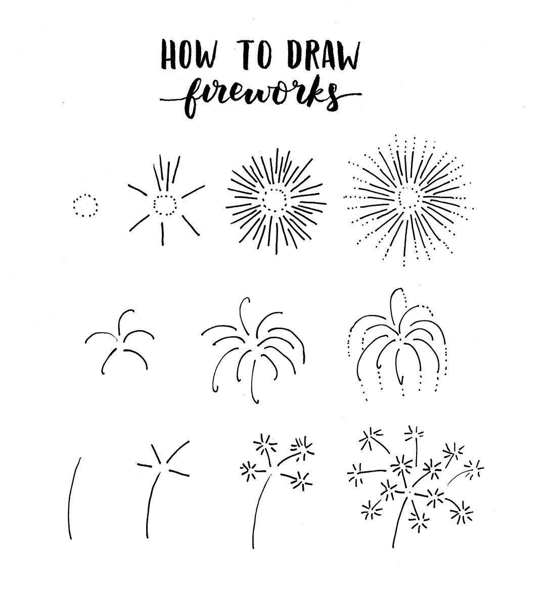 Fireworks clipart doodle. Pin on bullet journal