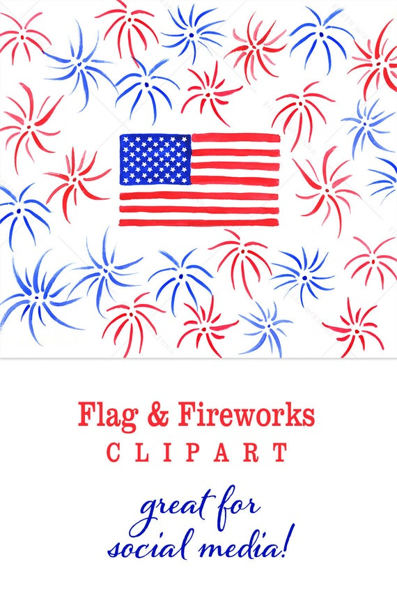 Watercolor usa hand painted. Fireworks clipart flag