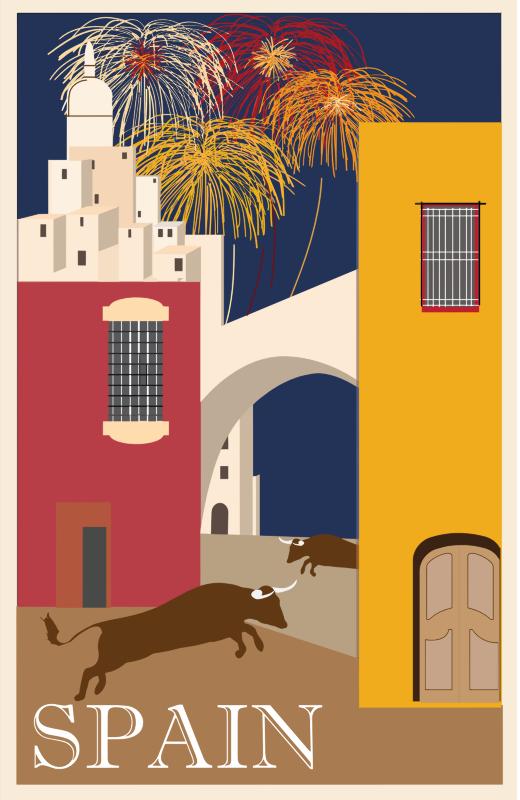 Travel poster spain medium. Fireworks clipart vintage