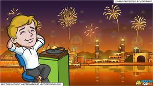 Fireworks clipart vintage. A man relaxing to