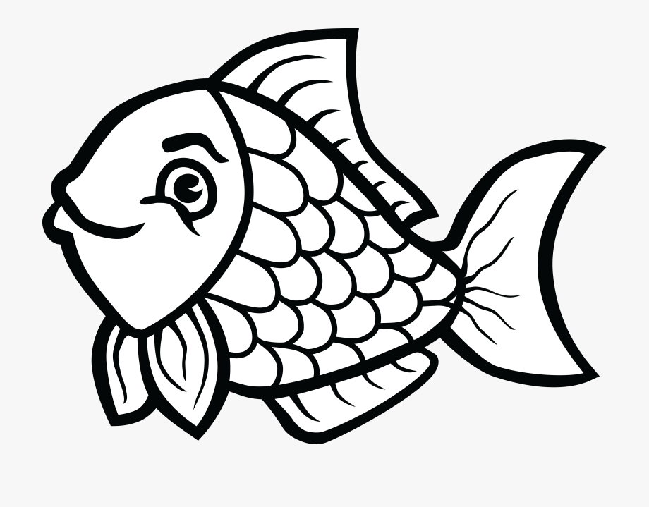 Black and white fish. Fishing clipart line art