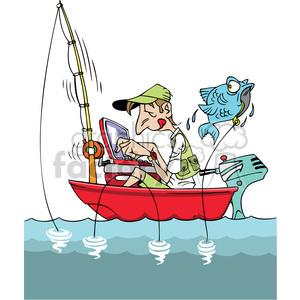 Cartoon man fishing in. Fisherman clipart boating