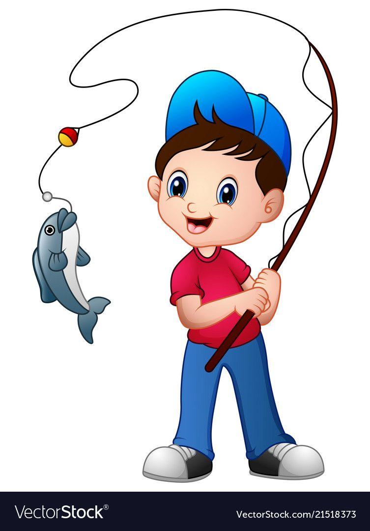 Fish clipart boy. Cute cartoon fishing royalty
