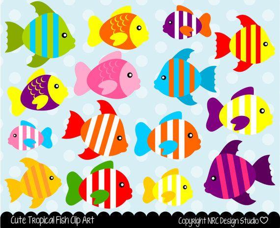 Sea creatures clip art. Fish clipart design
