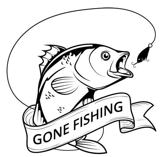 Fish logo on hunting. Fisherman clipart svg