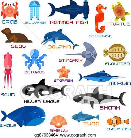 Vector illustration oceanarium ocean. Jellyfish clipart animal shell