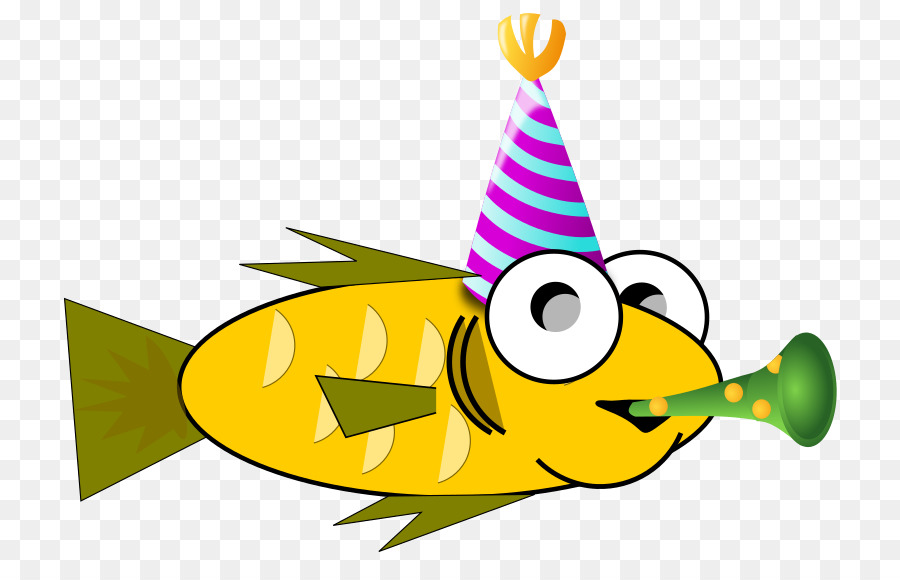 Goldfish clipart part. Party hat cartoon yellow