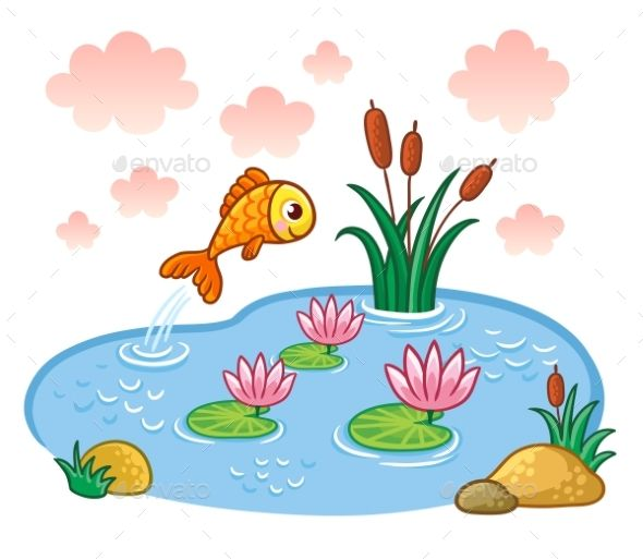 The fish jumps into. Lake clipart farm pond
