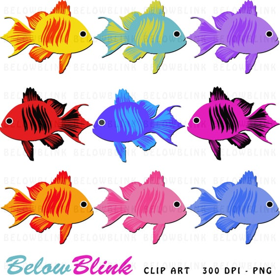Cute colorful clip art. Fish clipart printable
