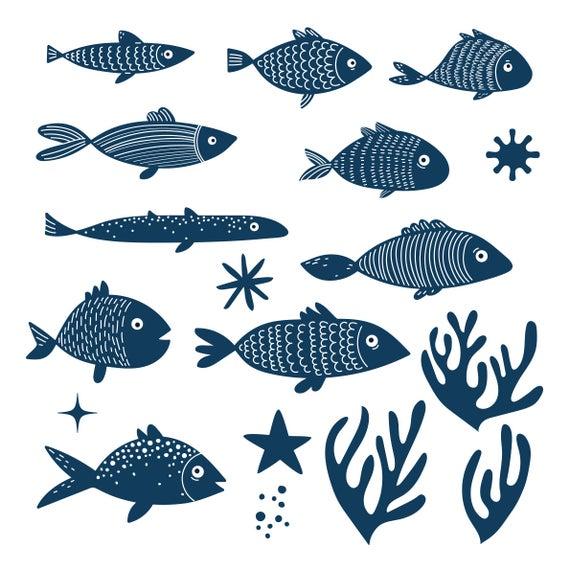 Fish clipart summer. Digital hand drawn sealife