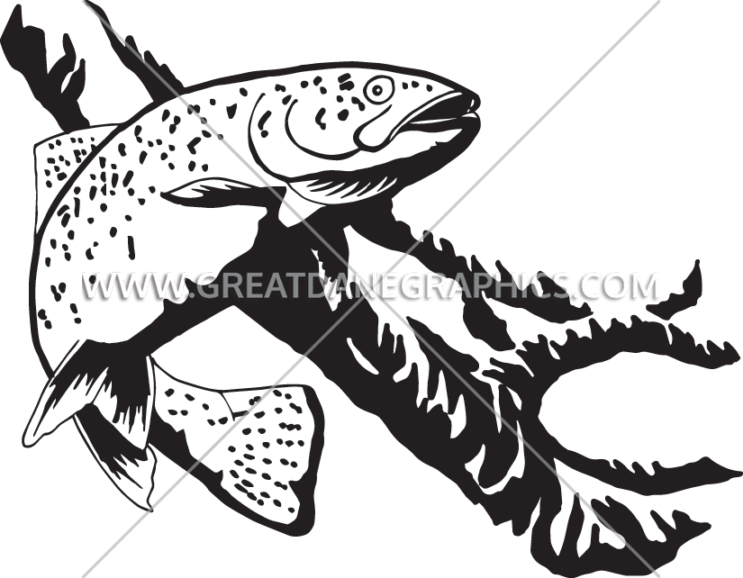 Rainbow production ready artwork. Fish clipart trout