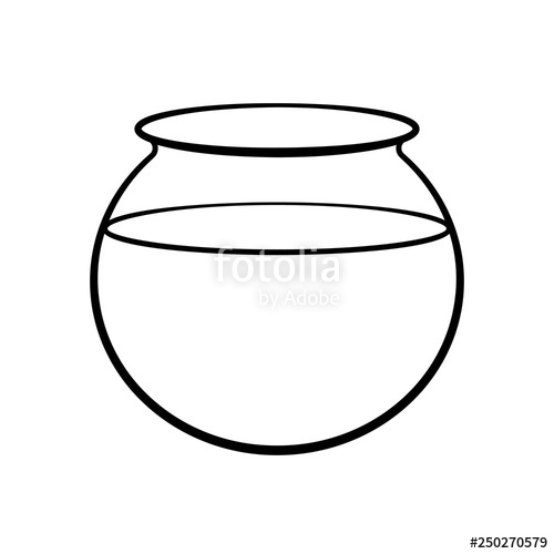 Empty fish bowl icon. Fishbowl clipart outline
