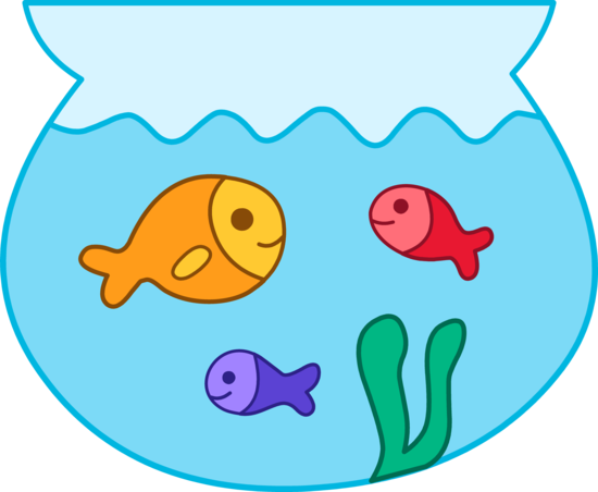Cute fishes in bowl. Fishbowl clipart pet fish
