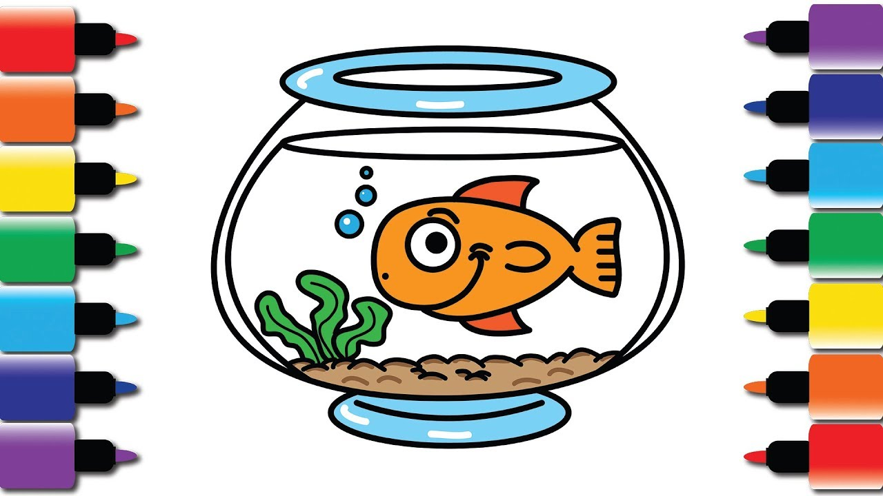 How to draw fish. Fishbowl clipart surprised