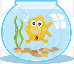 Illustration of a goldfish. Fishbowl clipart surprised
