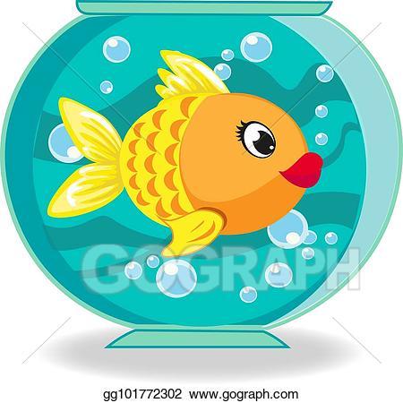 Stock cute cartoon goldfish. Fishbowl clipart vector