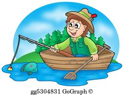 Fisherman clipart. Drawing cartoon with fish