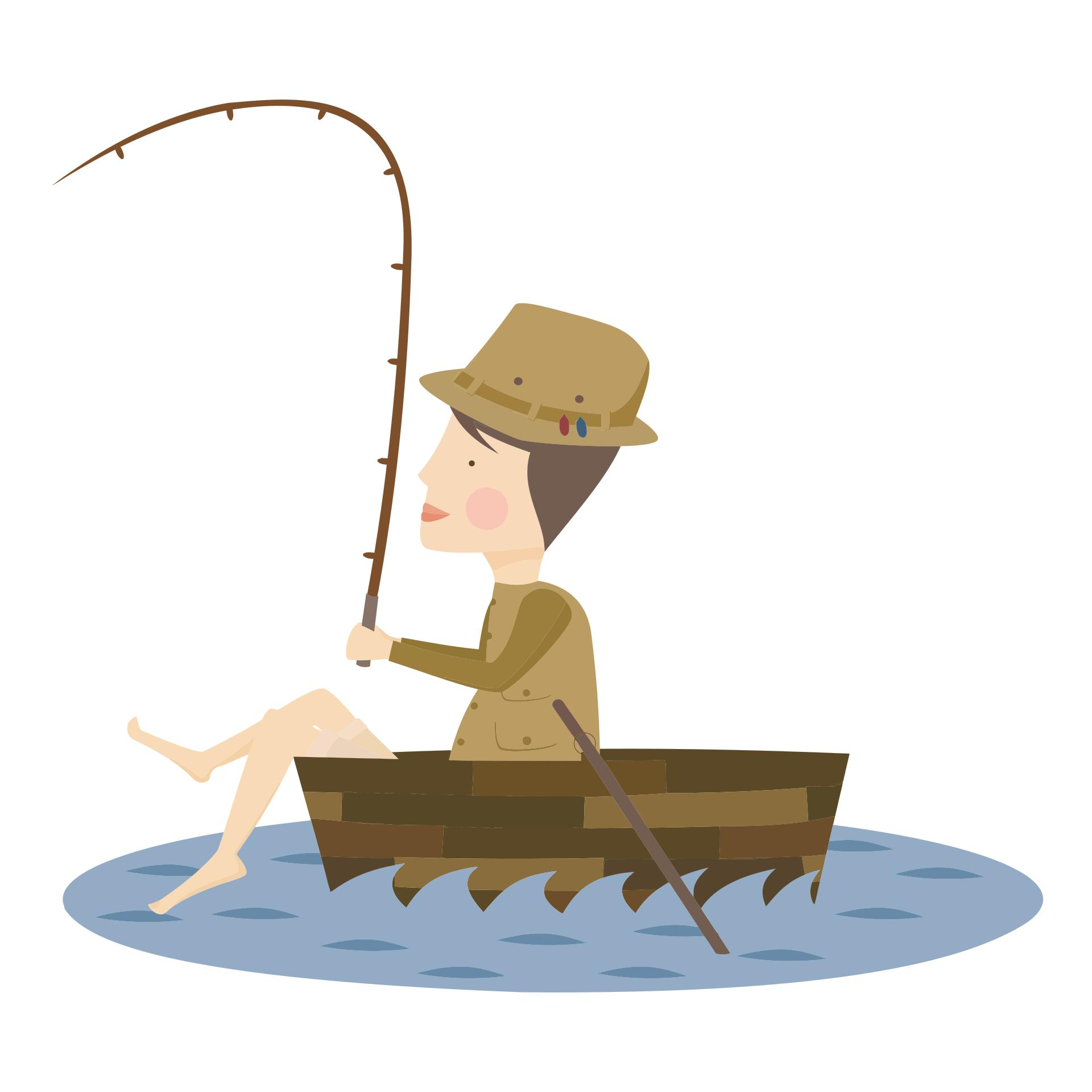 Fisherman clipart. Cartoon design droide