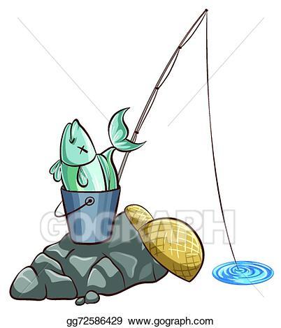 Fisherman clipart bucket fish. Eps illustration fishing vector