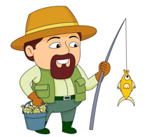 Clip art look at. Fisherman clipart bucket fish