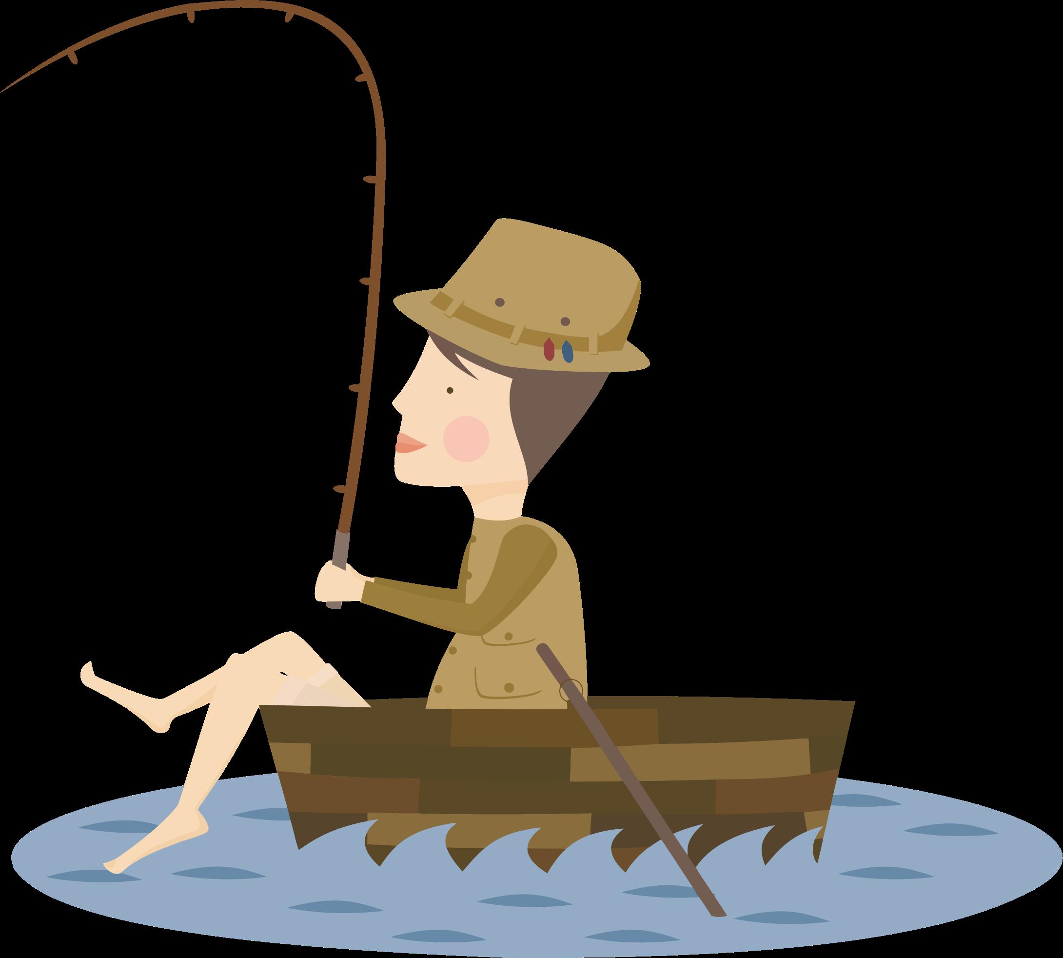 Fishing clipart fisher. Cartoon fisherman big image