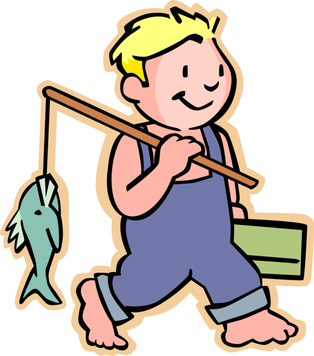 Barefooted boy catches fish. Fisherman clipart child