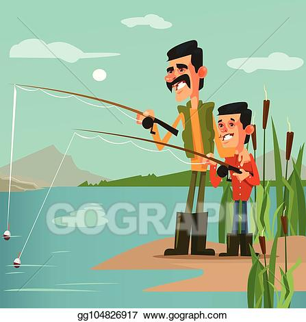 Fisherman clipart dad son fishing. Clip art vector happy