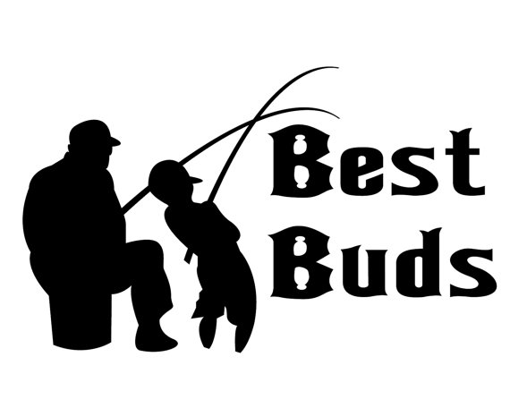 Decal best buds lover. Fisherman clipart dad son fishing