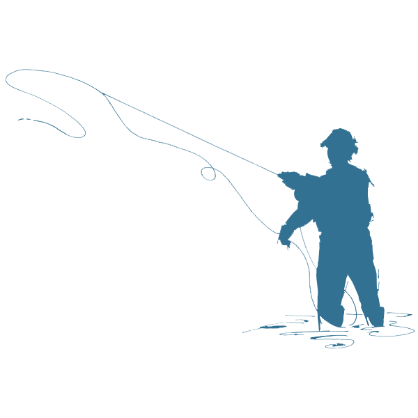 Fly fisherman silhouette at. Lake clipart flying