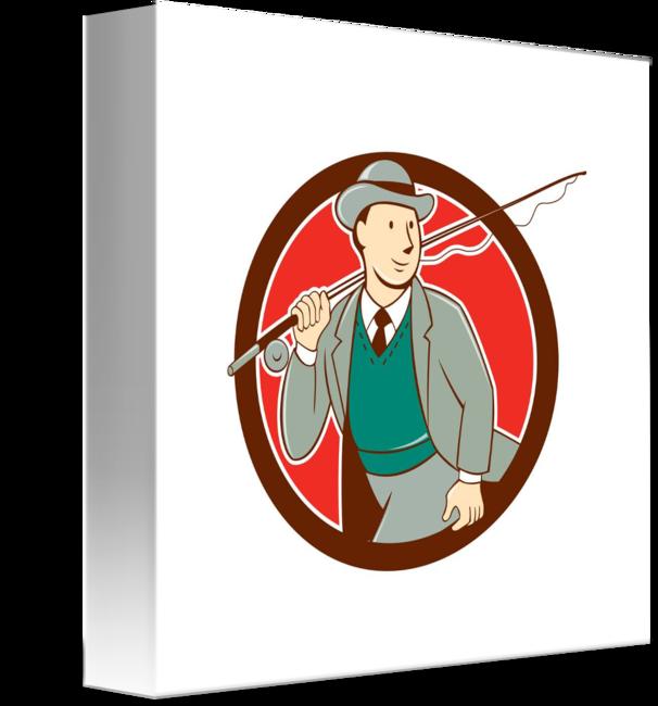 Fisherman clipart fishing vest. Vintage fly bowler hat