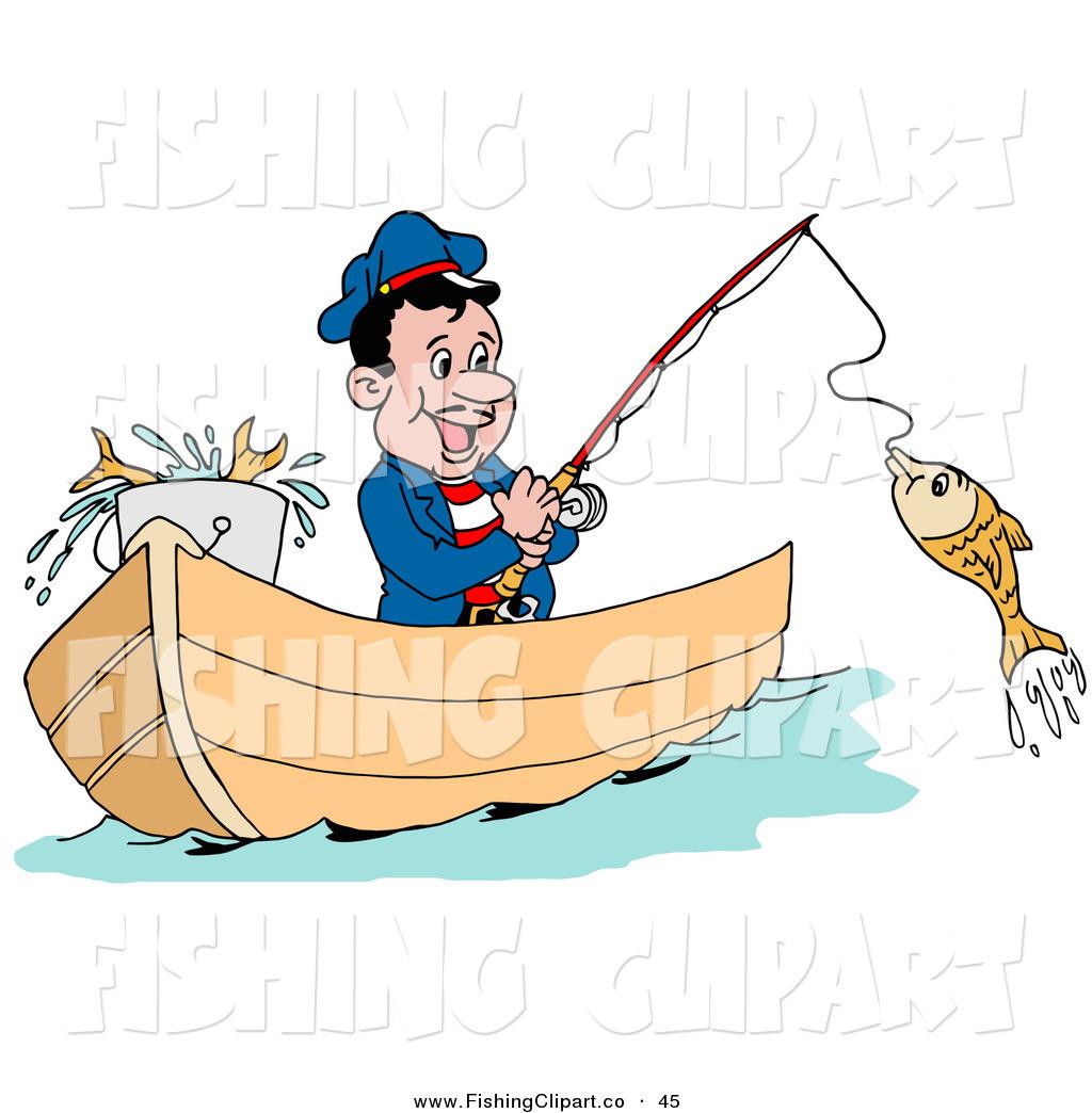 Clip art of a. Fisherman clipart happy