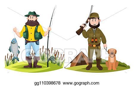 Fisherman clipart hunting fishing. Vector hunter and hunt