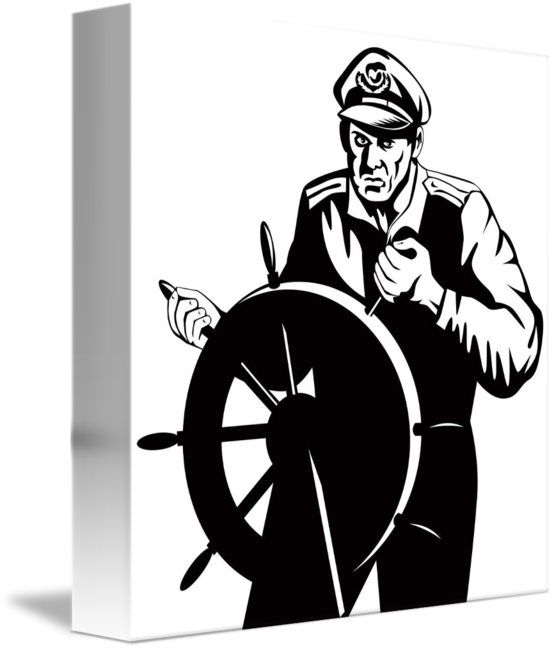 Fisherman clipart occupation. Sea captain at helm