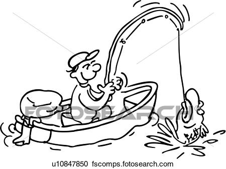 Black and white free. Fisherman clipart outline