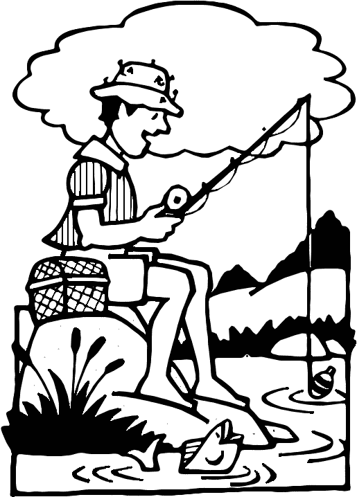 Fisherman clipart outline. Free download clip art